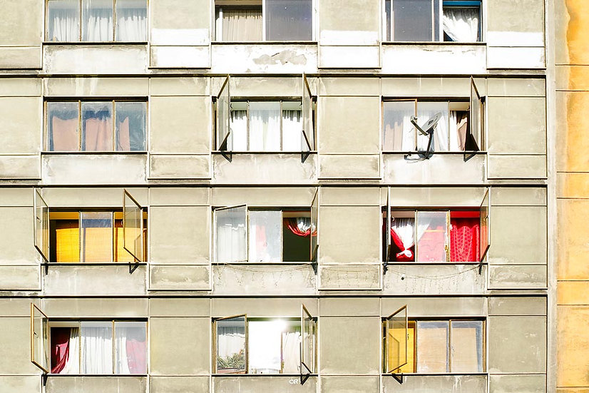 Apartment Building Windows, Chile, South America