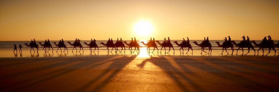 Sunset Camel Ride on Cable Beach, Broome, Kimberley, North Western Australia