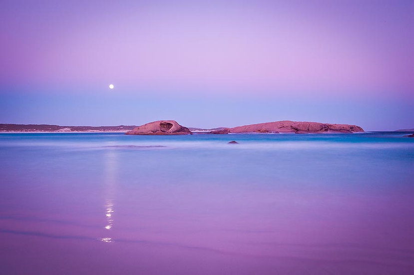 Esperance beach with moon rising, South Coast, Western Australia