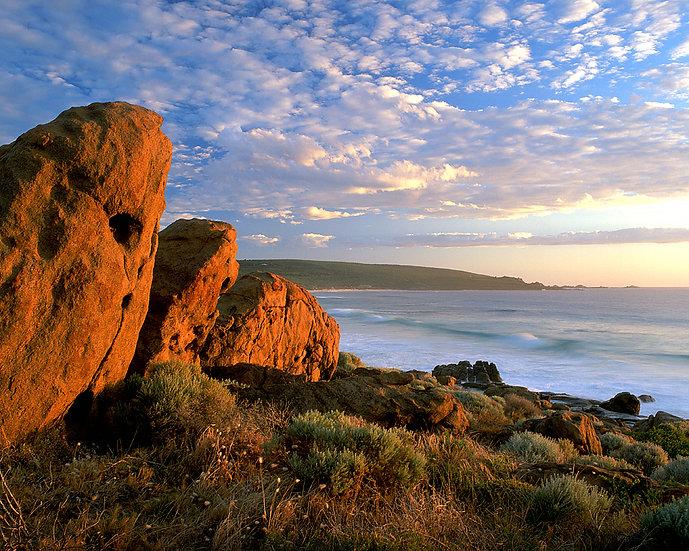 Granite boulders, sunset at Smiths Beach, South Western Australia