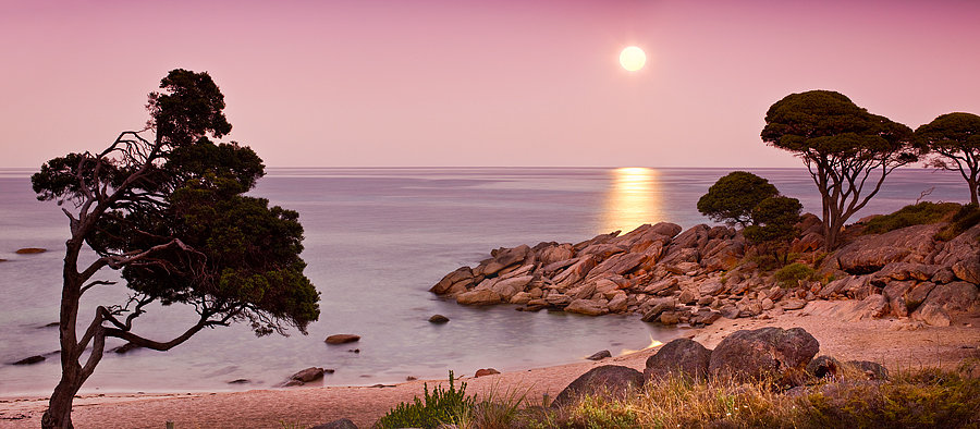 Moon over Bunker Bay, Cape Naturaliste, Dunsborough, South Western Australia