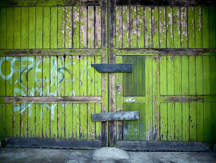 Weathered wooden green barn doors.