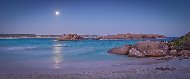 Moon rising, beach, Esperance, South Coast, Western Australia