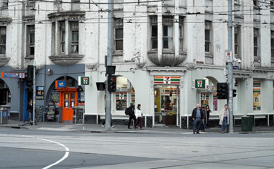 Melbourne Street Corner withTram Lines.