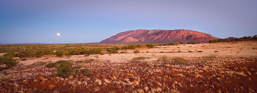 Moon rising over Mount Augustus, Pilbara, Western Australia
