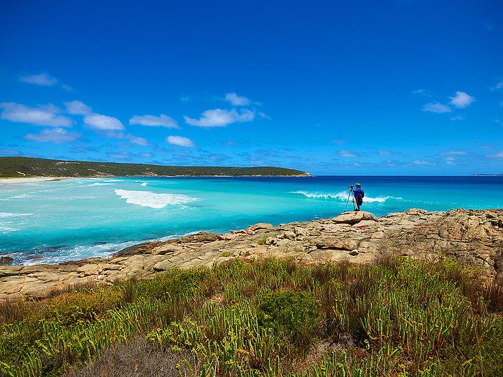 Photographer on Bremer Bay Beach, South Coast, Western Australia