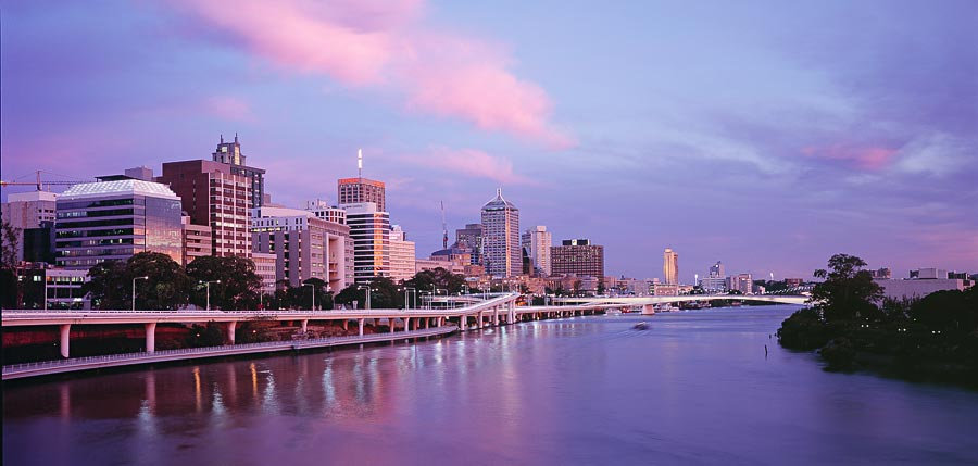 City Skyline and the Brisbane River, Brisbane, Queensland, Australia