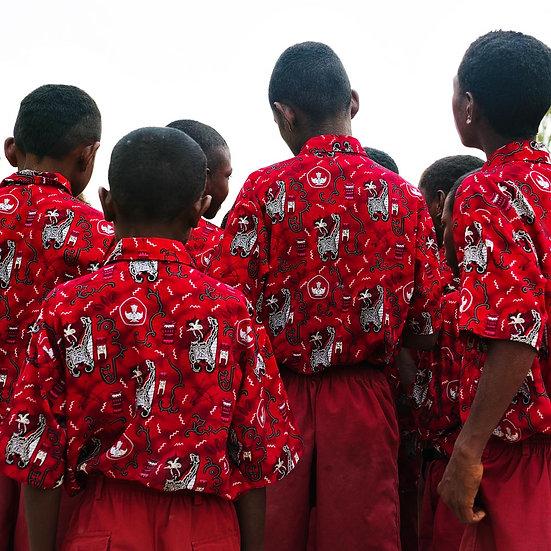 Red Uniform of School Children, West Papua New Guinea,
