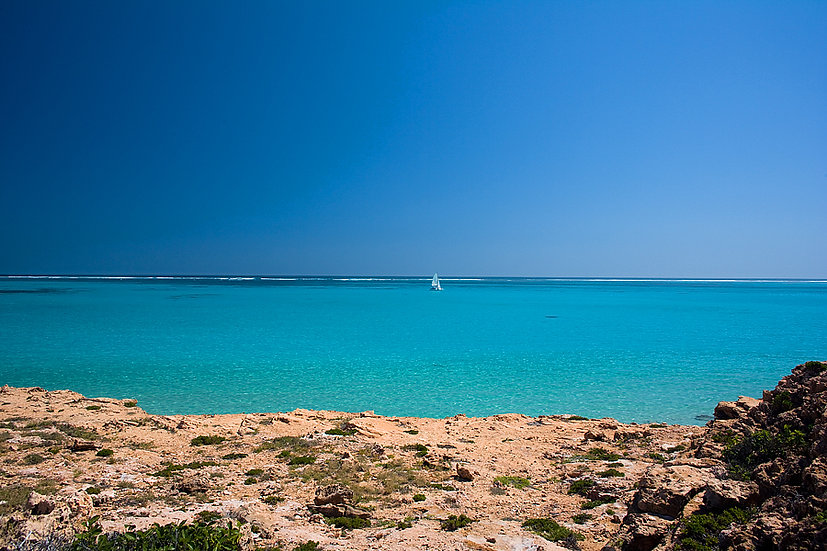 Ocean and catamaran, Coral Bay, North Western Australia