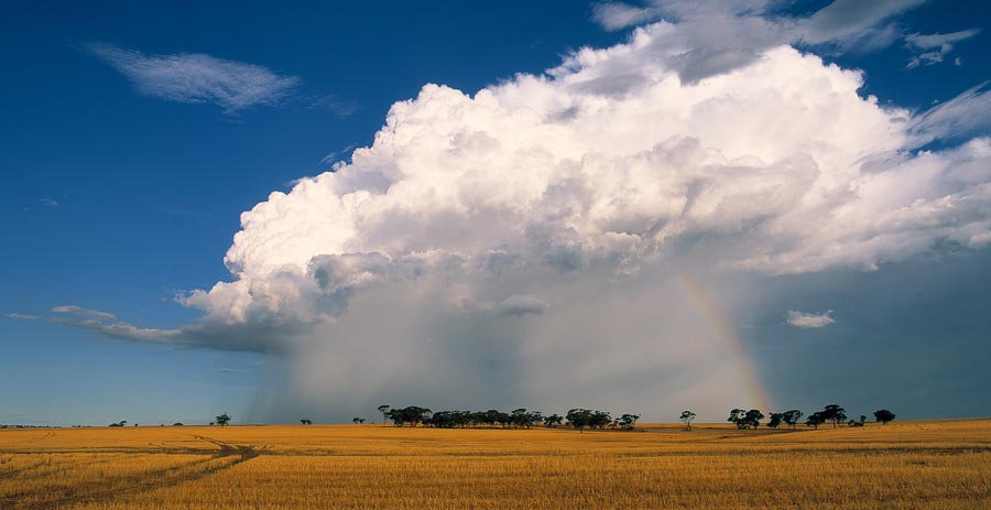 Rainbow and storm clouds on farming pasture
