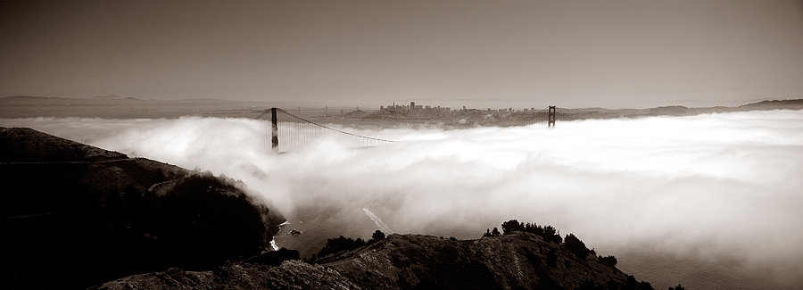 San Francisco, Golden Gate Bridge in fog,  United States of America, USA