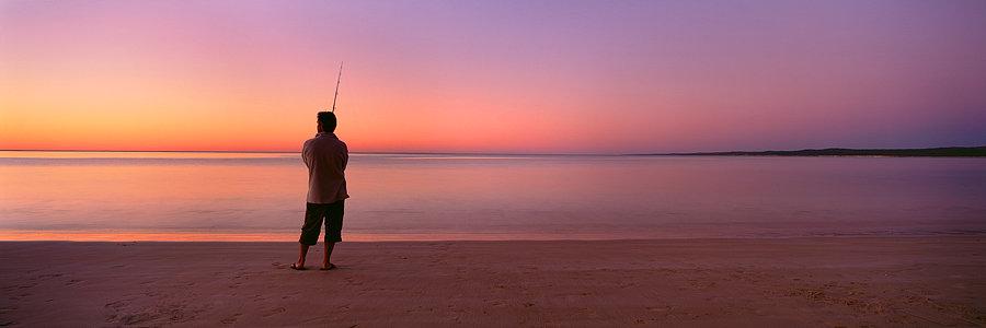 Fishing, Sunset, Ningaloo National Park, North Western Australia