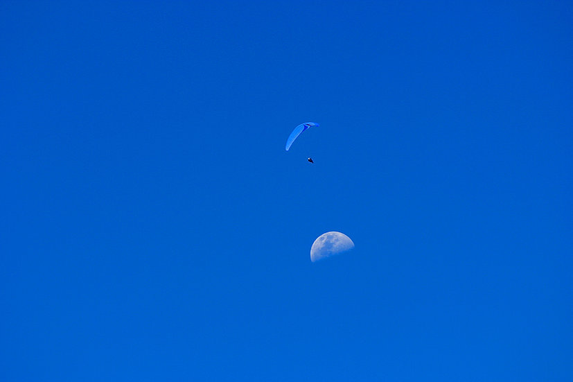 Paragliding and moon