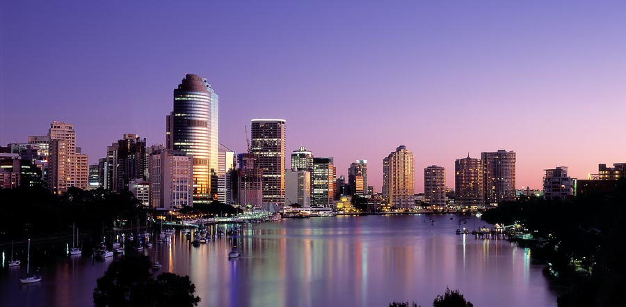 Dawn, City Skyline and the Brisbane River, Brisbane, Queensland, Australia