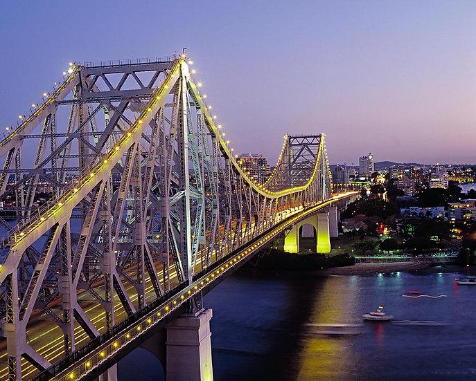 Story Bridge at dusk, Brisbane River, Brisbane, Queensland, Australia