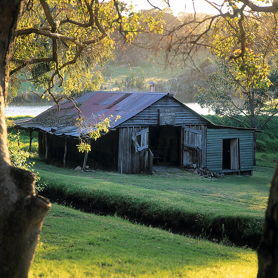 Millbrook Farm, lake and old buildings, Yallingup, South Western Austral
