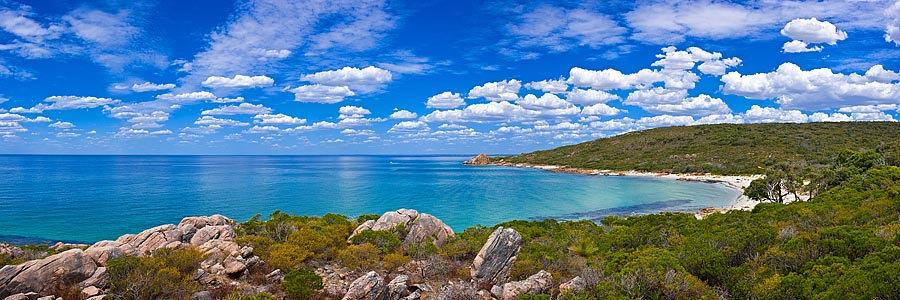 Blue ocean and coastal vegetation, Castle Bay, South Western Australia