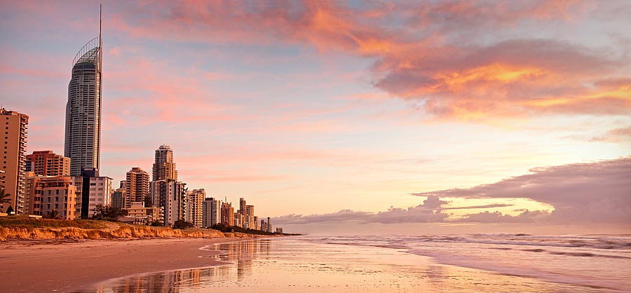 Sunrise on the beach at the Gold Coast, Queensland, Australia