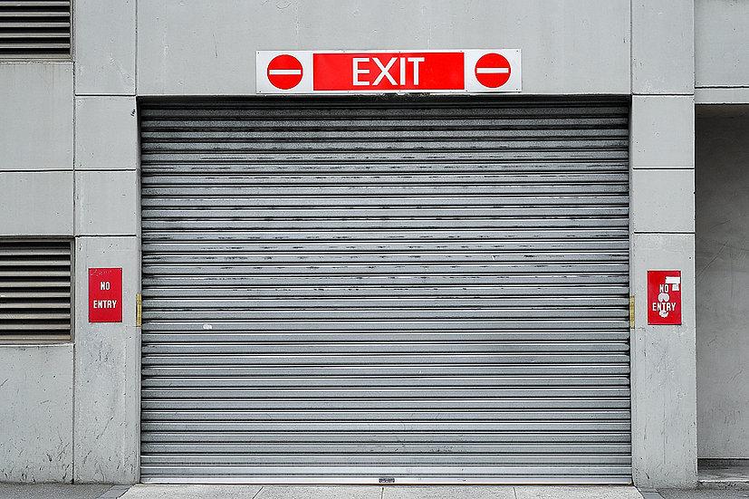 Grey Roller Door Exit