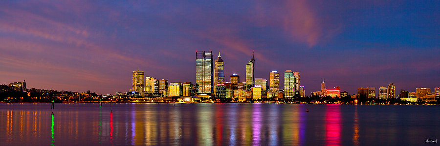 Perth City Nighttime Skyline
