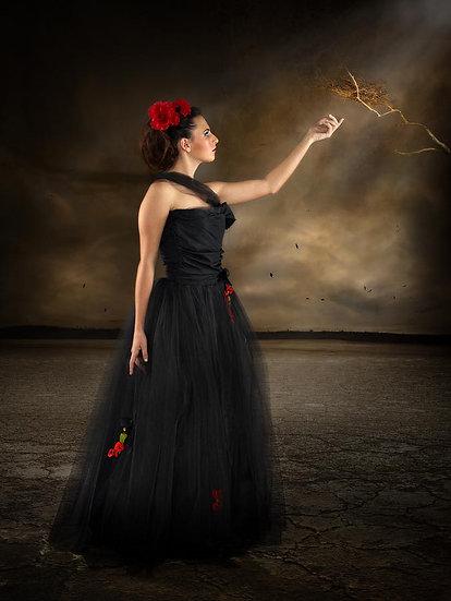 Model, black dress.