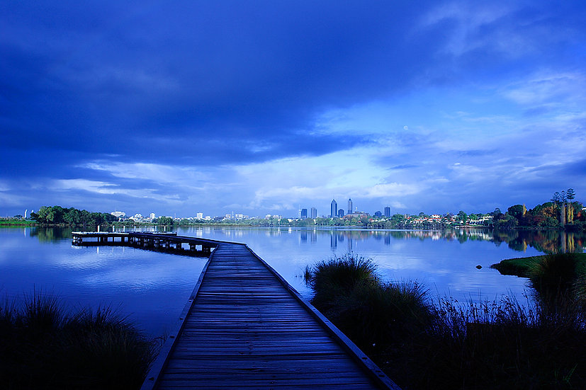 Jetty over the Swan River looking out to  Perth City, Western Australia