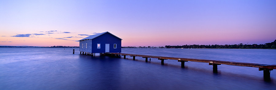 Blue Boat House, Jetty, Swan River, Perth, Western Australia