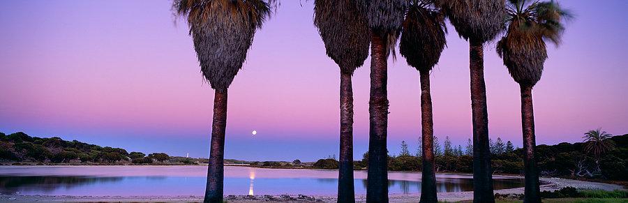 Moon and sunset, Rottnest Island, Western Australia