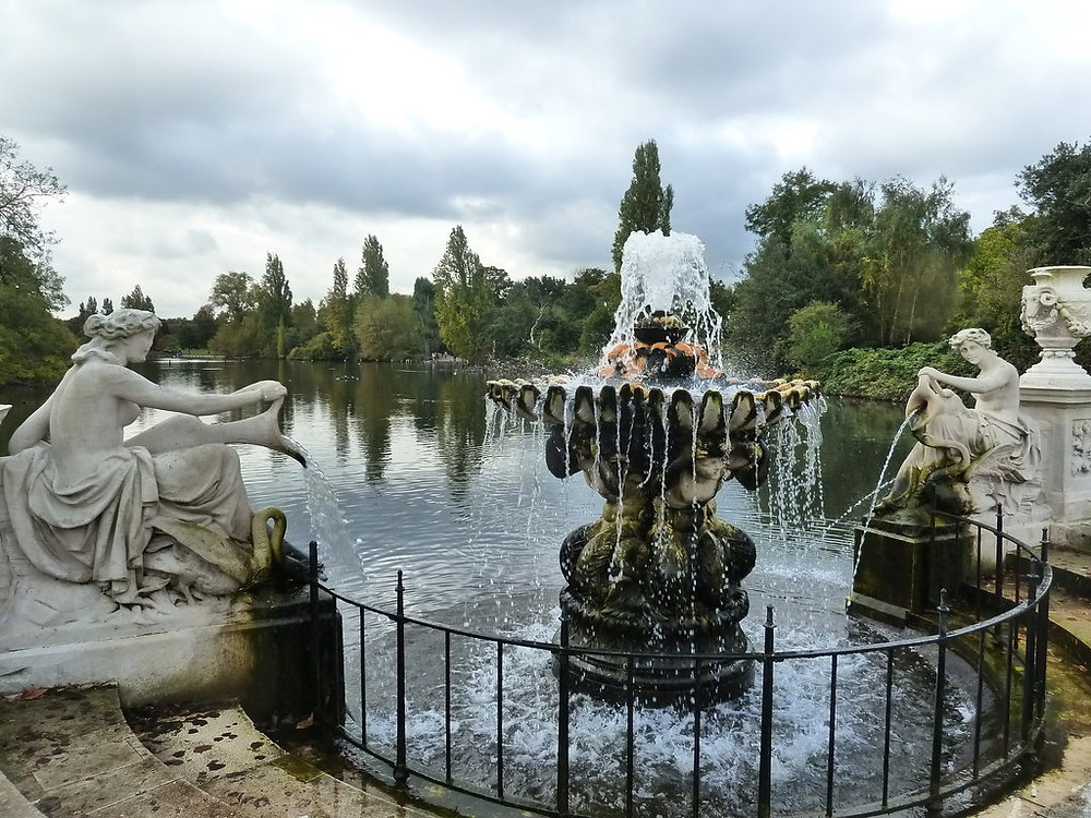 The Italian Garden in Hyde Park with a dramatic water feature