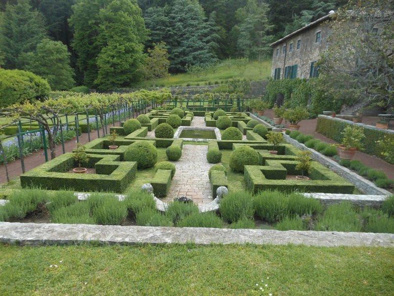 symmetrical topiary in an italian garden