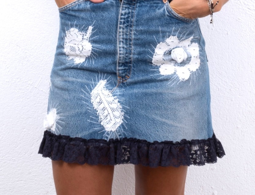 gonna-jeans-denim-applicazioni-pizzo-levis-vintage