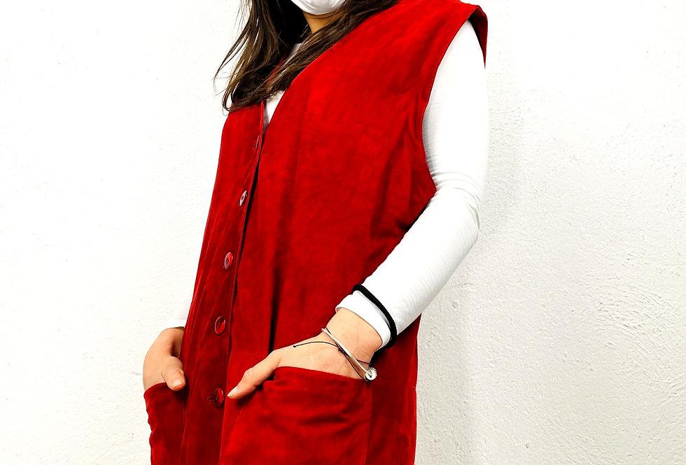 gilet-pelle-scamosciata-rosso-vintage