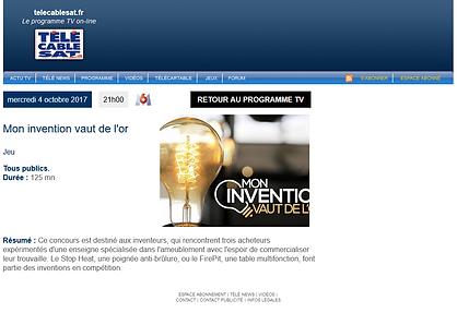 """Participation TV sur M6""""Mon invention vaut de l'or"""""""