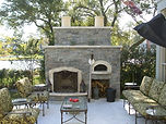 stone patio fireplace