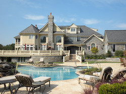 stone home patio pool