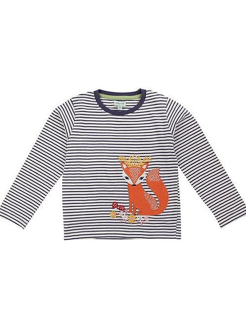 Lilly & Sid Organic Applique Stripe Fox Queen Top