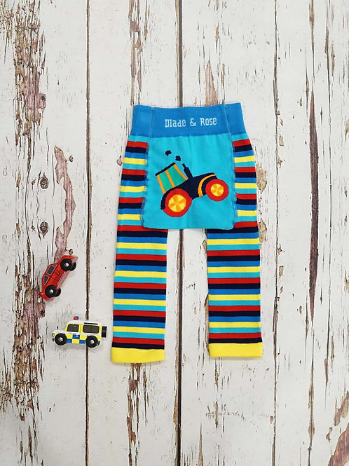 Farmyard Tractor Blade and Rose Baby Leggings