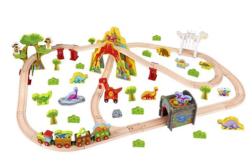 Wooden Large Dinosaur Train Set