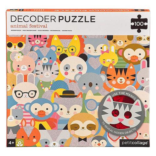 Petit Collage Animal Festival Decoder Puzzle