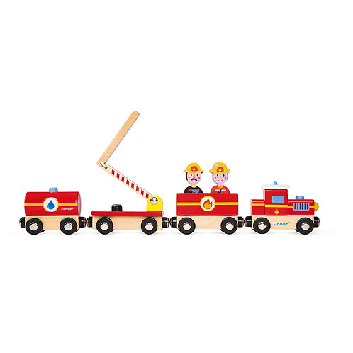 Janod Wooden Story Firefighters Train Set