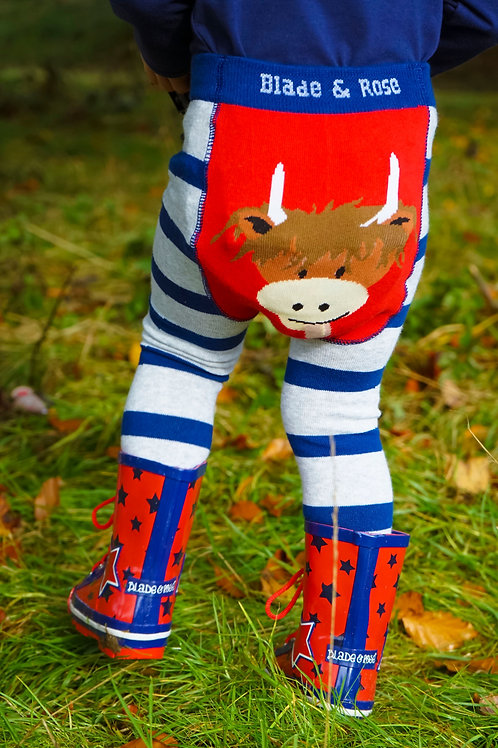 Highland Cow Blade and Rose Baby Leggings