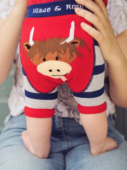 Highland Cow Blade and Rose baby shorts