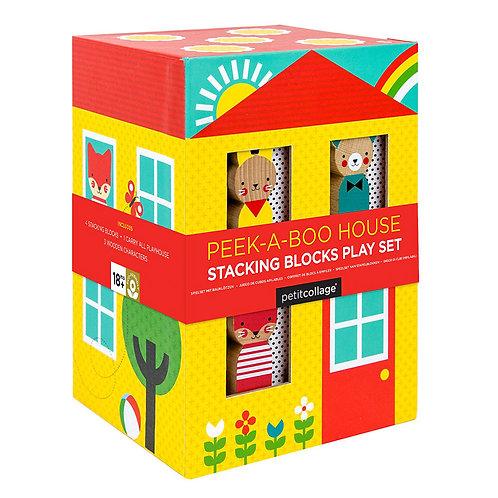 Petit Collage Peek-a-Boo House Stacking Blocks Play Set