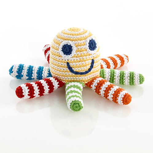 Yellow Stripe Octopus Toy by Pebble Child