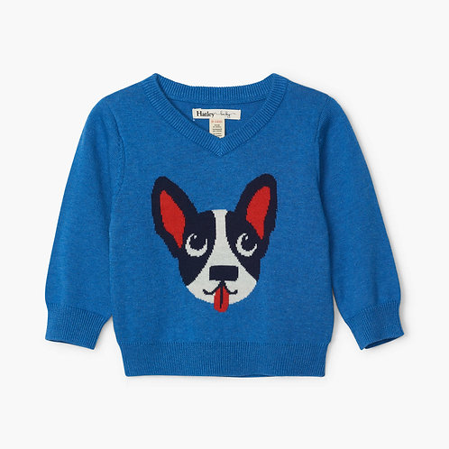 Hatley Playful Puppy V Neck Baby Sweater