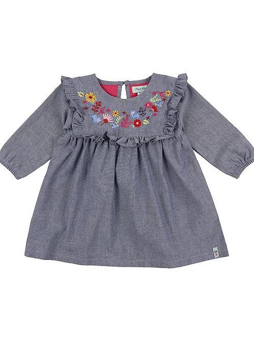 Lilly & Sid Organic Woodland Embroidery Chambray Dress