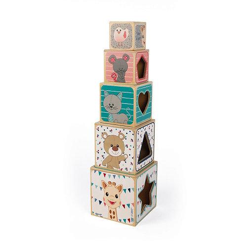 Sophie La Giraffe Wooden Pyramid Blocks