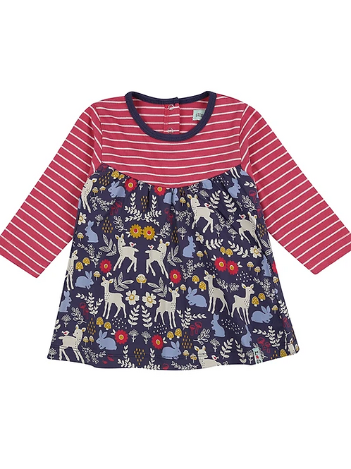 Lilly & Sid Organic Animals Stripe Baby Dress