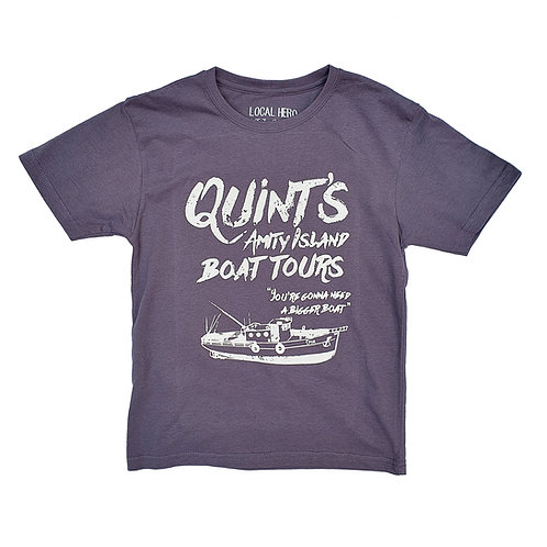 Jaws Inspired Quint's Amity Island Boat Tours Grey Tee