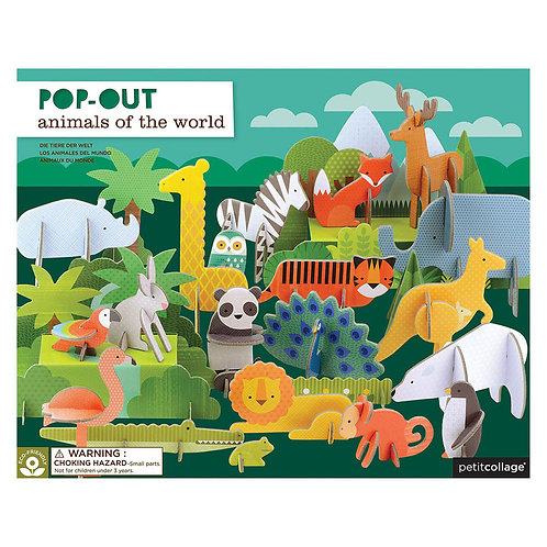 Petit Collage Pop-Out Animals Of The World Play Set